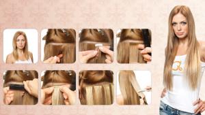 Этапы ленточного наращивания волос на дому